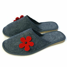 Women Ladies Premium Red Flower Lightweight Mule Grey Slippers  Size 3 4 5 6 7 8