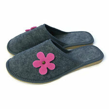 Women Ladies Premium Pink Flower Grey Lightweight Mule Slippers Size 3 4 5 6 7 8