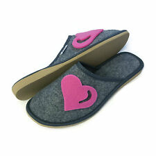New Womens Ladies Girls Pink Heart Grey Slip on Mule Slippers Size 3 4 5 6 7 8