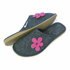 New Womens Ladies Girls Pink Flower Grey Slip on Mule Slippers Size 3 4 5 6 7 8
