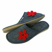 New Womens Ladies Girls Red Flower Grey Slip on Mule Slippers Size 3 4 5 6 7 8