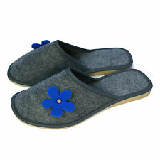 New Womens Ladies Girls Blue Flower Grey Slip on Mule Slippers Size 3 4 5 6 7 8