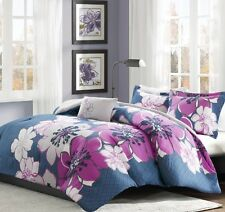 New Lovely Fuchsia Blue Floral Comforter Shams Full Queen Twin TXL Bedding Set