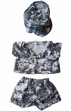 Army Digital Camos w/ Cap n Teddy Bear Clothes Fits 14