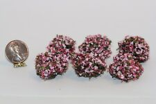 Dollhouse Miniature Set of 6 Landscaping Bushes w/Pink Flowers