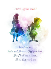 Alice in Wonderland Mad Hatter Quote ART PRINT, Wall Art, Nursery, Gift, Decor