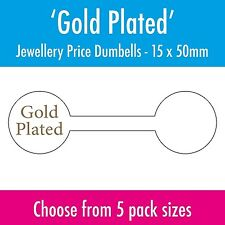 Gold Plated Jewellery Price Stickers - Labels - Dumbells / Tags