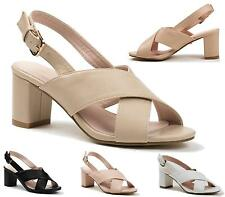 Ladies Womens Block Mid Heel Summer Ankle Strap Party Cuff Sandals Shoes Size