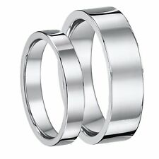 Platinum  His & Hers Flat court 3mm & 6mm Wedding ring