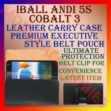 ACM-BELT CASE for IBALL ANDI 5S COBALT 3 MOBILE LEATHER CARRY POUCH COVER CLIP