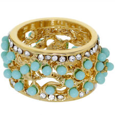 18k Gold Plated Aqua Clear Crystal Wide Bohemian Ring Girls Ladies