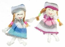 Dollhouse Miniature Blue and Rose Dolls (Larger than 1:12 scale, see descript...