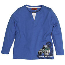 Salt and Pepper Jungen - Farmer Traktor Langarmshirt 2 in1 Malibu Blue