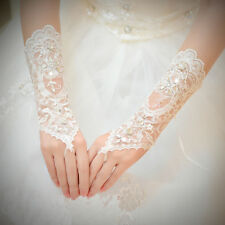 New Bridal Fingerless Long Gloves Crystal Sequins Lace Satin Wedding Costume