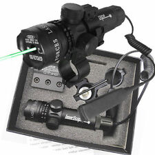 Pro Tactical Outside Adjusted Hunting Rifle Green / Red Laser Sight Dot Scope UK