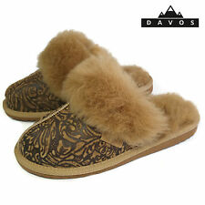 Womens Ladies Deluxe Embossed Twinface 100% Sheepskin Mules Slippers EVA Sole
