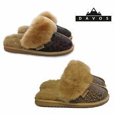 New Womens Ladies Luxury Twinface Sheepskin Suede Leather Mule Slippers EVA Sole
