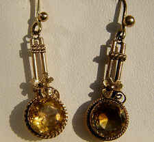 Antique Victorian 9ct Gold Citrine Drop Earrings