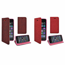 APPLE IPHONE 5/5S/5SE GLITTER RED / DARK RED BOOKFLIP CASE COVER VARIOUS COLOURS