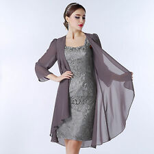 Womens Wedding Formal Party Dresses Mother of the Bride Short Dress with Shawl