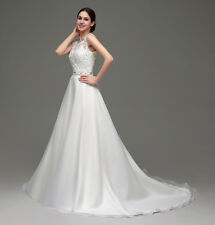 Womens White/Ivory Wedding Dress Lace Bride Wedding Gowns Beaded Backless Dress