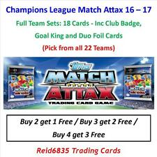"""Champions League Match Attax 16 - 17: Full Team Sets """"18 Cards"""" (All 22 Teams)"""
