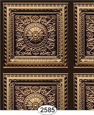 Dollhouse Rosette Panel Antique Gold Wallpaper or Ceiling Paper