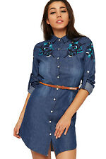 Womens Belted Denim Shirt Mini Dress Ladies Long Sleeve Floral Print Button 8-14