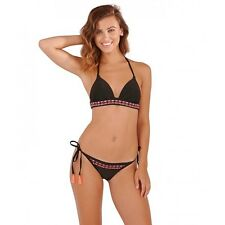 Black Push up Halter neck Bikini Set with low rise tie side Bikini bottoms