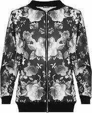 Womens Plus floreale Bomber giacca Ladies Home page Rose stampa manica lunga Zip