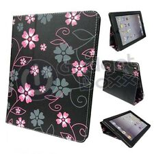 Flor Negro Rosa y Gris Diseño Funda De Polipiel para Apple iPad Mini 2