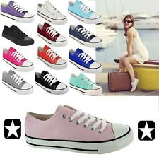 LADIES WOMENS CANVAS LACE UP PLIMSOLLS FLAT GYM SHOES SNEAKERS TRAINER PUMPS