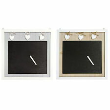 Shabby Chic Wooden Memo Blackboard with Distressed Love Hearts – Chalk Included