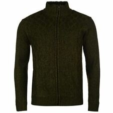 Pierre Cardin Full Zip Knit Cardigan Mens Khaki Jumper Sweater Top