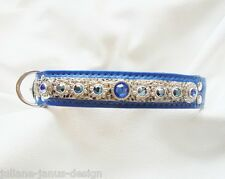 Juliane Janus Design Luxus Strass Hunde blau Halsband mit Swarovski Elements TOP