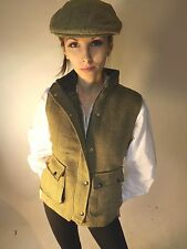 New Women's Tweed Waistcoat Green Fashion Fitted Lined Quilted Sports Riding