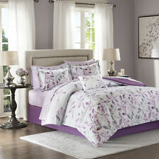 Elegant Bold Grey Purple Grey Floral Comforter Sheets Cal King Queen 9 pcs Set