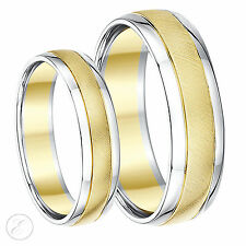 9ct Two-Colour Designer His & Hers Wedding Ring Bands 5mm & 6mm 9k