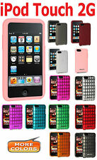 AMZER Silicone Jelly Skin Luxe Argyle Gel Cover + extra Case For iPod Touch 2G