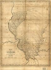 Photo Reprint Antique American Cities Towns States Map Illinois