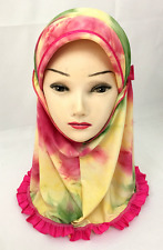 MUSLIM KIDS GIRLS LADY HIJAB CAP ISLAMIC HEAD SCARF FLOWER SCARF SHAWLS HEADWEAR