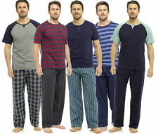 Mens Pyjamas Short Sleeve T Shirt Top Trousers Pjs Nightwear Lounge Wear Pants