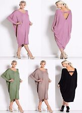 Women Long Sleeve Backless Party Cocktail Ladies Baggy Midi Dress Plus Size 8-26