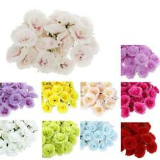 50Pcs Artificial Floral Silk Rose Flower Heads Bulk Wedding Bride Decor 10Colors