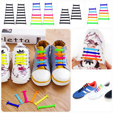 Easy No Tie Shoelaces Elastic Silicone Flat Shoe Lace Set for Kids Adults