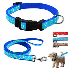 Star Print Dog Collar And Matching Leads Set Pet Walking Leash For Medium Dogs M
