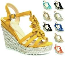 Womens Ladies Wedge Heel Strappy Shoes Slingback Peep Toe Espadrilles Sandals