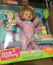 Brand New Little Mommy Interactive Baby Walk & Giggle Blonde Doll Fisher price