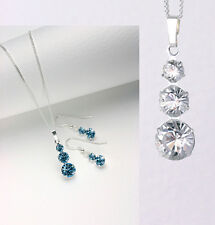 Sterling Silver 925 Pendant & Earring Set in Gift Box With Swarovski Elements