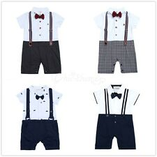 Baby Boy Wedding Coverall Tuxedo Suit Bowtie Romper One Piece Outfit NEWBORN